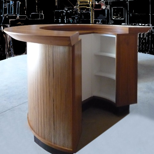 Lumine teak circular bar counter